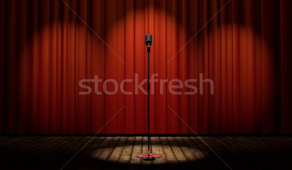 3D klasszikus mikrofon színpad piros függöny Stock fotó © Elisanth
