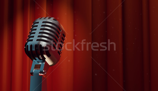 Foto stock: 3D · retro · micrófono · rojo · cortina
