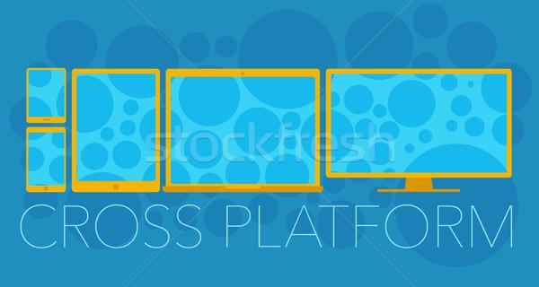 ストックフォト: ベクトル · クロス · プラットフォーム · 携帯電話 · ノートパソコン