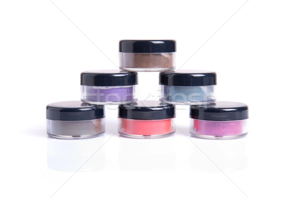Loose eye shadows in transparent jars  Stock photo © Elisanth
