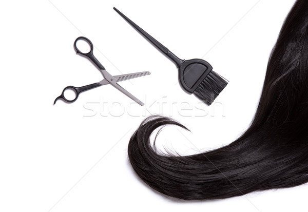 Black shiny hair with professional scissors and hair dye brush   Stock photo © Elisanth