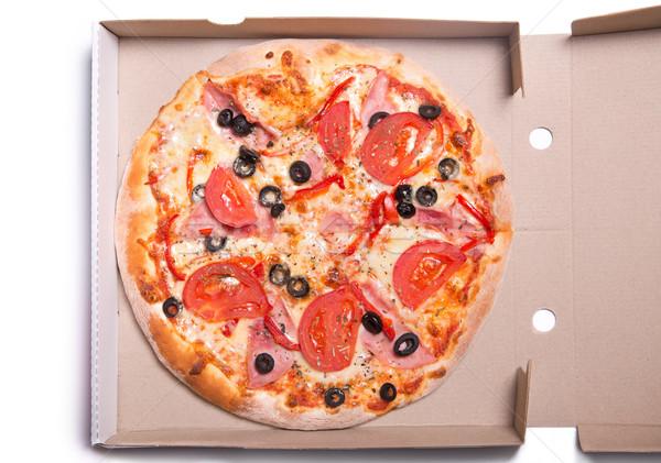 ízletes pizza sonka paradicsomok doboz izolált Stock fotó © Elisanth