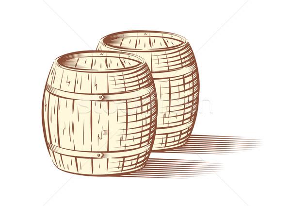 Vector illustration of beer or wine barrels  Stock photo © Elisanth