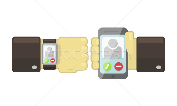 Vector smart watch and smartphone sync concept  Stock photo © Elisanth