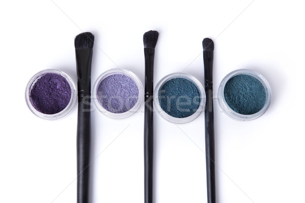 Mineral eye shadows and make-up brushes Stock photo © Elisanth