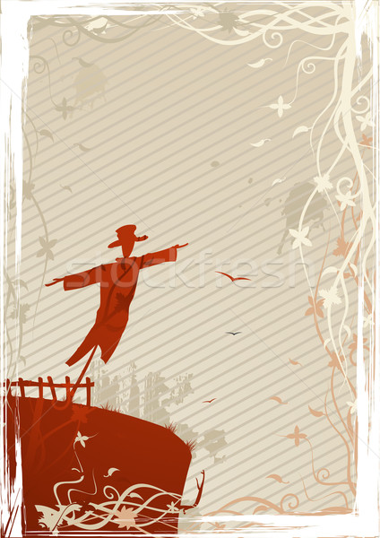 Vector illustration of mystic scarecrow on grunge background Stock photo © Elisanth