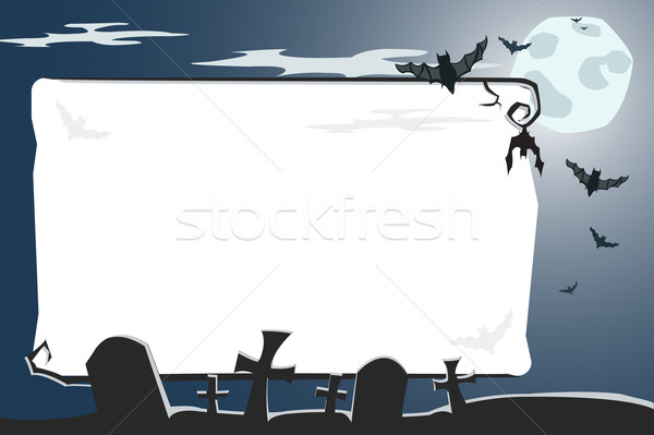 Vector Halloween illustration of cemetery with copy-space  Stock photo © Elisanth