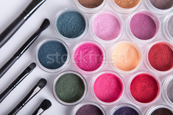 Set of bright mineral eye shadows and brushes  Stock photo © Elisanth