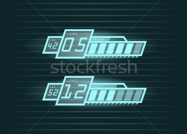 Vector set of progress bars for casual games interface   Stock photo © Elisanth