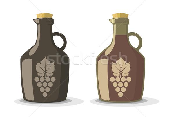 Foto stock: Vetor · conjunto · dois · vinho · garrafas · vintage