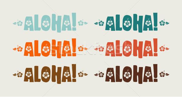 Vektor szett aloha szó retro színek Stock fotó © Elisanth