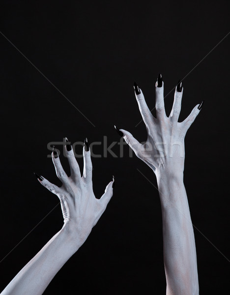 White ghost or witch hands with sharp black nails, body art  Stock photo © Elisanth