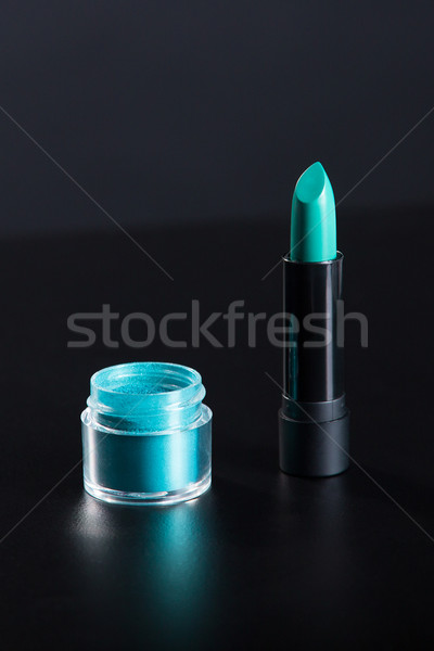 Lipstick and eye shadow in bright teal green color  Stock photo © Elisanth