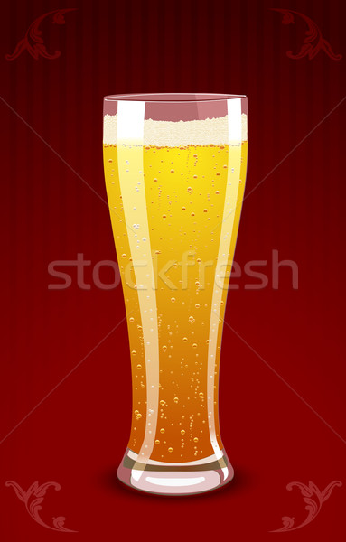Vector illustration of a beer glass on red background Stock photo © Elisanth