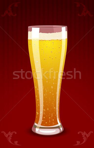 Bira cam kırmızı dizayn içmek Stok fotoğraf © Elisanth
