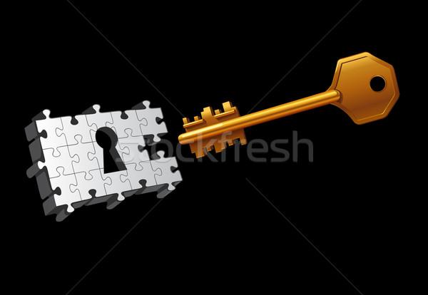ベクトル キー 移動 ドア 黒 パズル ストックフォト © Elisanth