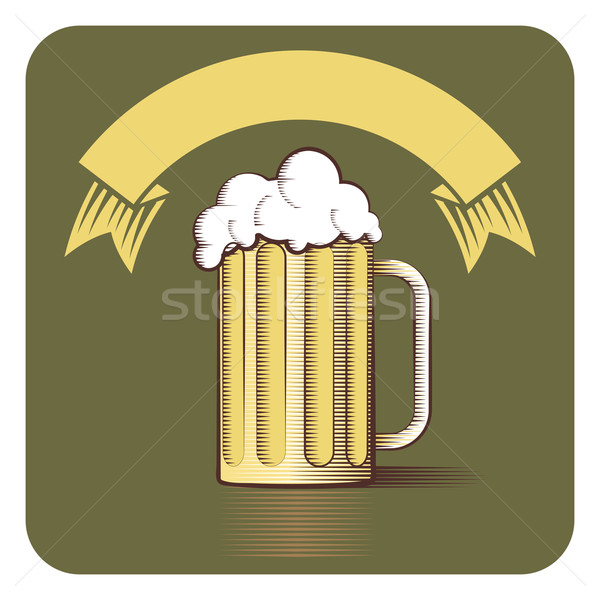 Stock photo: Vector icon of beer mug and ribbon with copy-space in engraved s