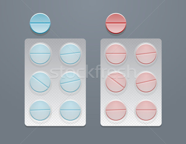 Vector blue and red round pills in blister packs  Stock photo © Elisanth