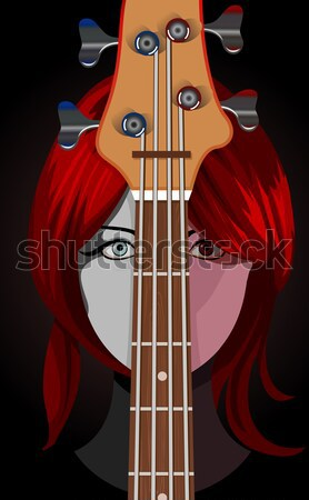Gothic girl wearing scary lenses with guitar  Stock photo © Elisanth