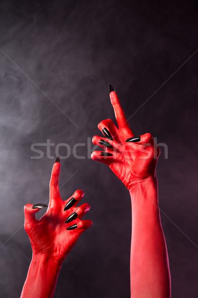 気味悪い 赤 悪魔 手 黒 爪 ストックフォト © Elisanth
