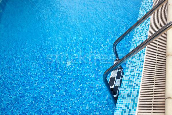 Közelkép lövés úszómedence létra fém víz Stock fotó © Elisanth