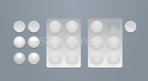 Stock photo: Vector round pills and blister packs