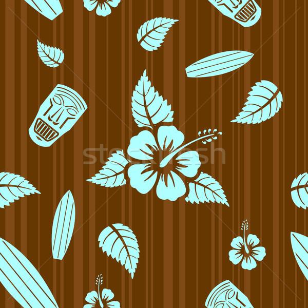 Vektor végtelen minta aloha levél kék szövet Stock fotó © Elisanth
