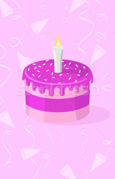 Rózsaszín torta gyertya esküvő születésnap szín Stock fotó © Elisanth