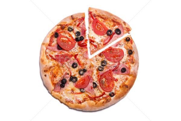 Lezzetli pizza jambon domates dilim yalıtılmış Stok fotoğraf © Elisanth