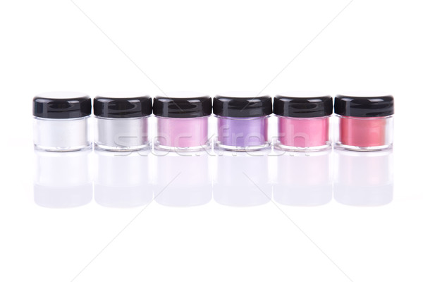 Bright mineral eye shadows in clear plastic jars  Stock photo © Elisanth