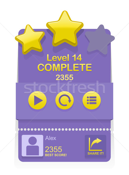 Stock photo: Vector game interface with level results