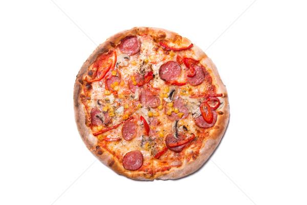イタリア語 ピザ ペパロニ キノコ 先頭 ストックフォト © Elisanth