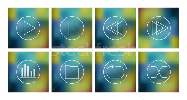 Vector set of icons for music player  Stock photo © Elisanth