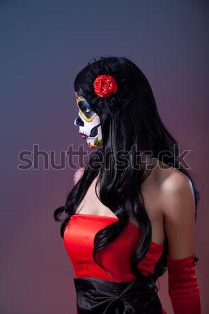 сахар череп девушки красную розу женщину Сток-фото © Elisanth