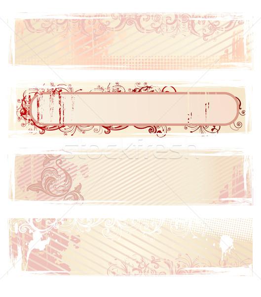 Ingesteld vector roze grunge banners Stockfoto © Elisanth