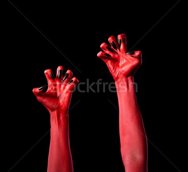красный дьявол рук черный ногти реальный Сток-фото © Elisanth