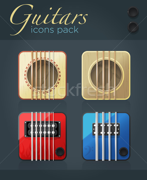 Vector set of guitar icons for music software  Stock photo © Elisanth