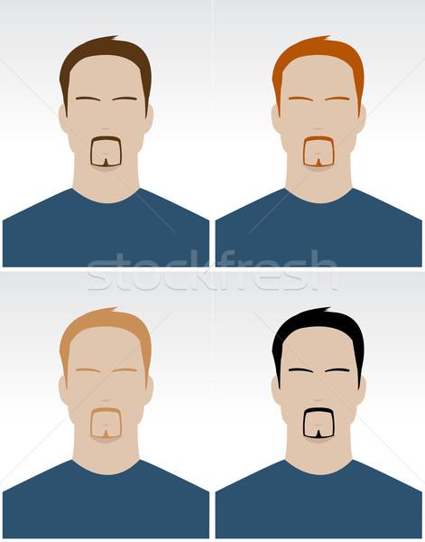Vektor szett egyszerű férfi arcok különböző Stock fotó © Elisanth