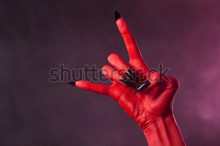 赤 皮膚 悪魔 手 ストックフォト © Elisanth