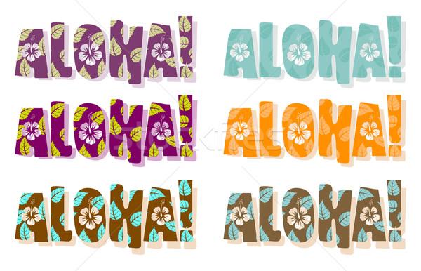 Aloha szó különböző színek kézzel rajzolt szöveg Stock fotó © Elisanth