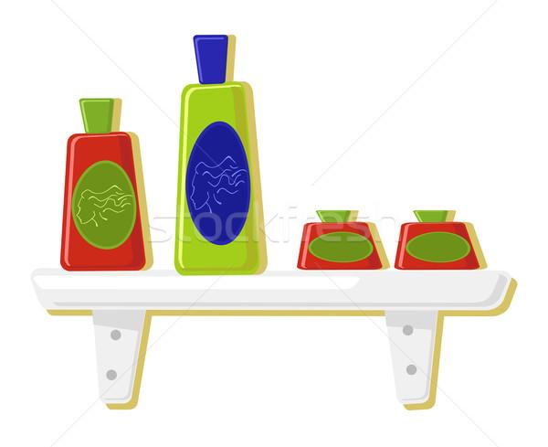 Stock fotó: Parfüm · üvegek · polc · arc · absztrakt · zöld