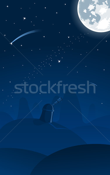 Stock photo: Vector illustration of observatory, falling stars