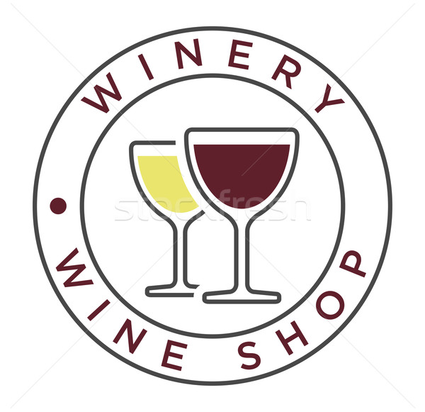 Vector simple linear style icon for winery label   Stock photo © Elisanth