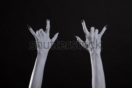 Stock fotó: Szörny · kéz · mutat · győzelem · felirat · sápadt