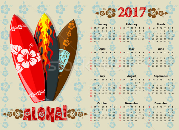 Vector Aloha calendar 2017 with surf boards  Stock photo © Elisanth