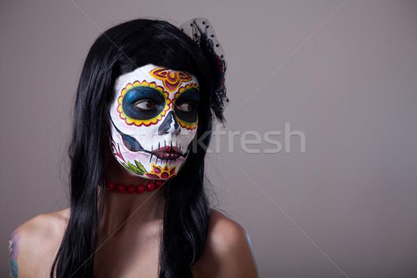 Stockfoto: Suiker · schedel · meisje · portret · vrouw