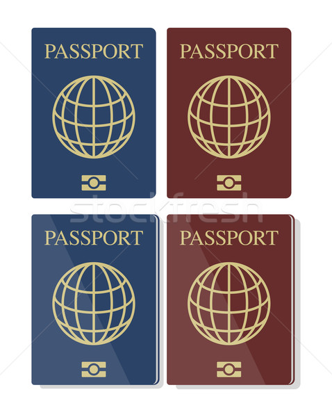 Vector set of blue and red biometric passports with globe  Stock photo © Elisanth