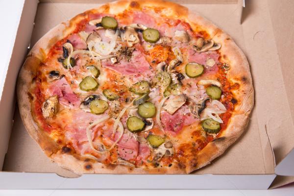 Atış lezzetli İtalyan pizza jambon Stok fotoğraf © Elisanth