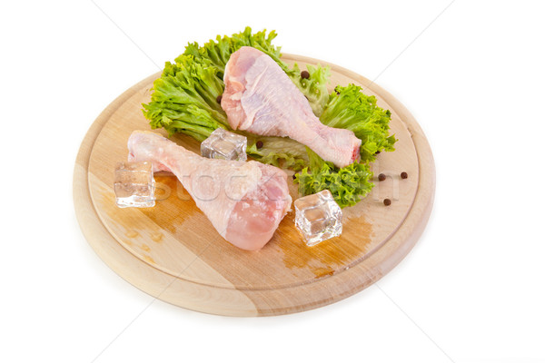 Stock photo: Fresh and frozen chicken legs on chopping board