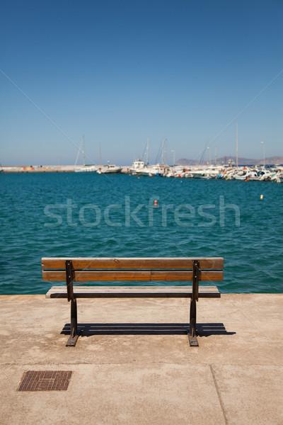 Banco convés mar ver céu madeira Foto stock © Elisanth